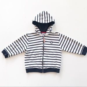 Petite Bateau Boys Striped Hooded Top
